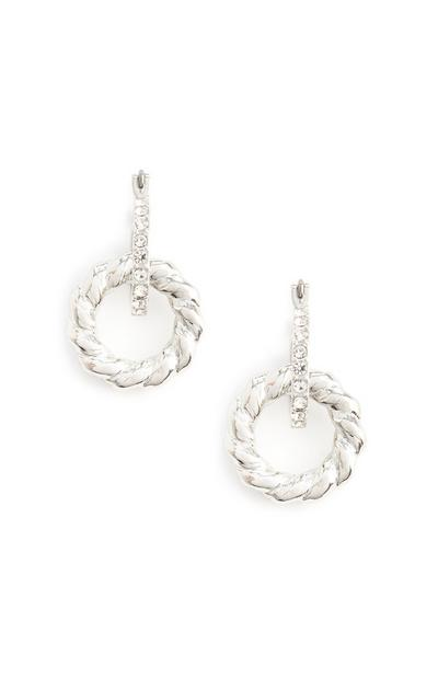 Silver Rhinestone Link Circle Drop Earrings