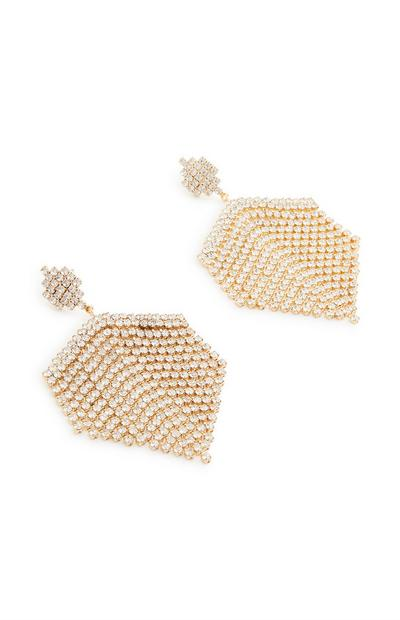 Brincos pendentes franjas dourado