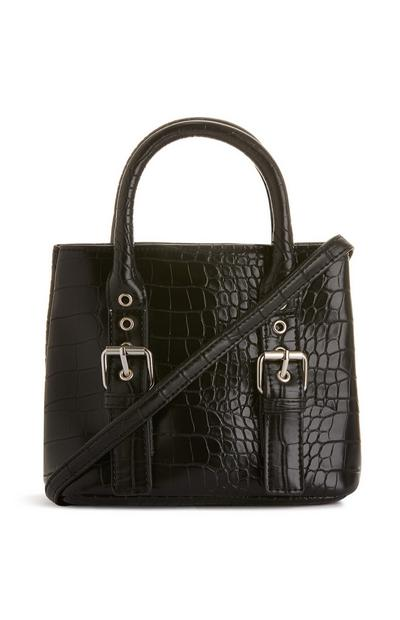 Mini sac à bandoulière noir avec boucles