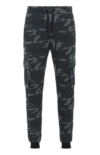 Black Camo Utility Cargo Trousers