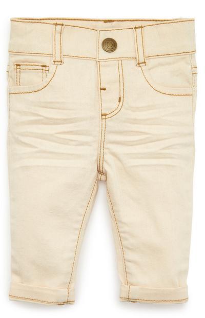 Crèmekleurige skinny broek van twill-katoen voor baby's (jongen)