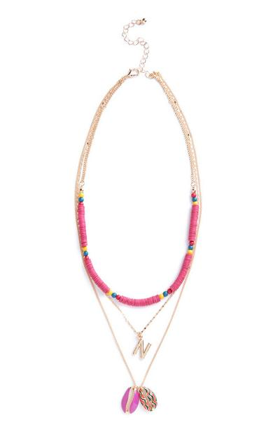 Pink Beaded Shell N Initial Necklace