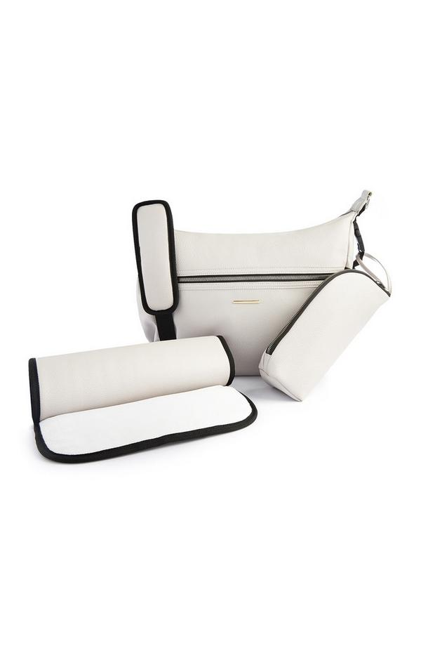 Grijze schoudertas voor babyverschoning