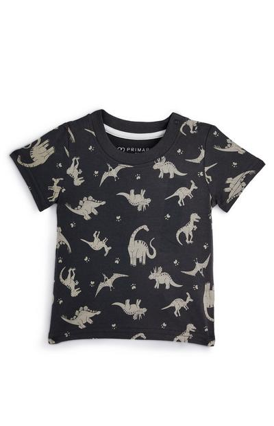 Baby Boy Charcoal Dinosaur T-Shirt