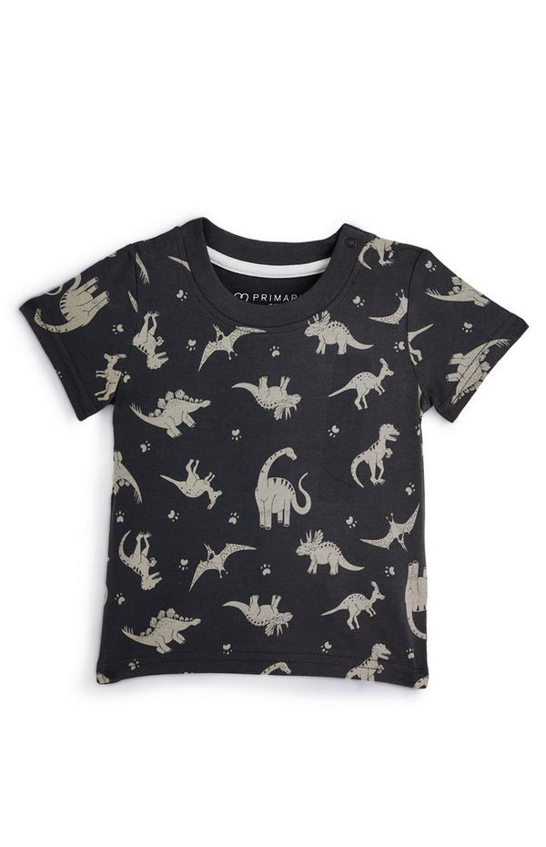 Camiseta gris marengo con dinosaurios para bebé niño