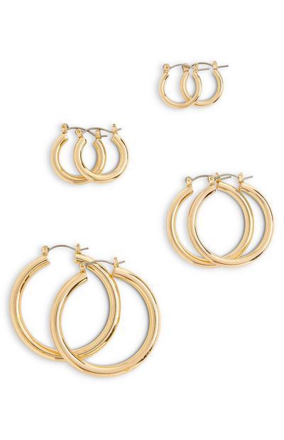 Mix Size Goldtone Midi Hoop Earrings 4 Pack