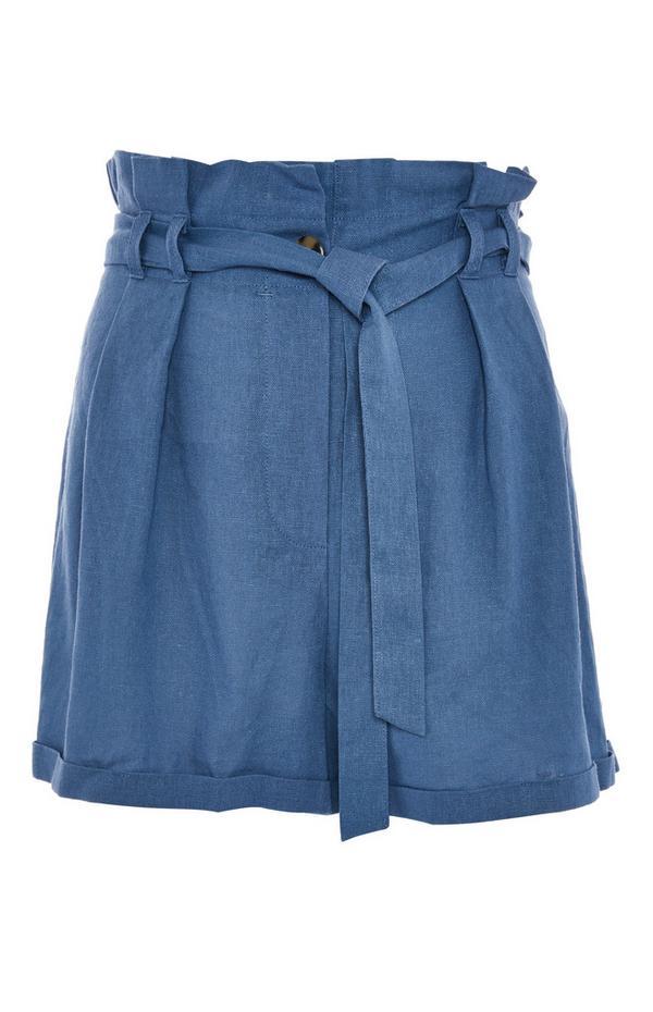 Blue Belted Tie Waist Linen Shorts
