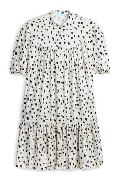 Printed Smocked Puff Sleeve Mini Dress
