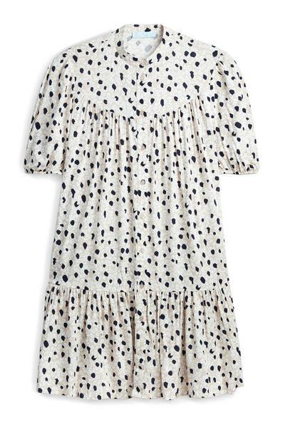 Mini robe imprimée à manches bouffantes et smocks