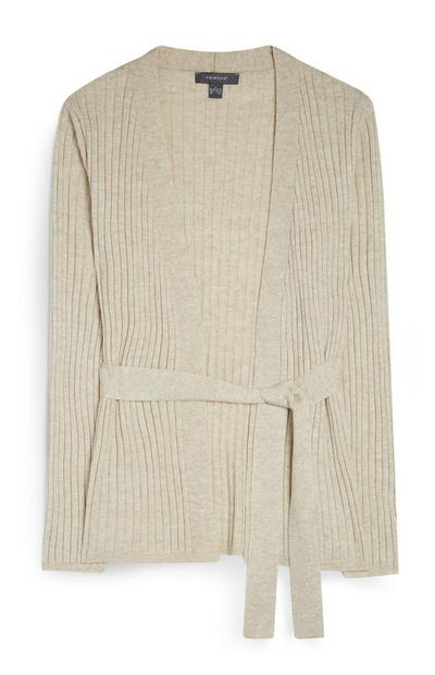Beige Belted Cardi Co-Ord