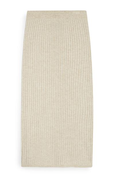 Cream Ribbed Pencil Skirt Co-Ord