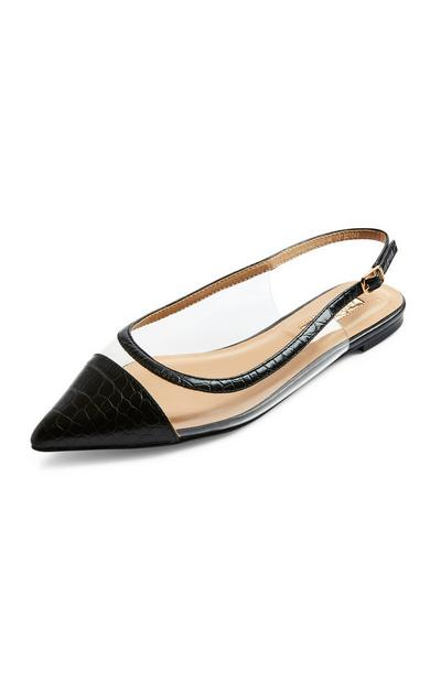 Black Clear Perspex Flat Ballerina Shoes
