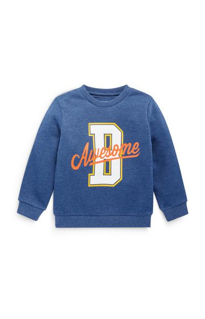 Younger Boy Blue Awesome Crew Neck Sweater