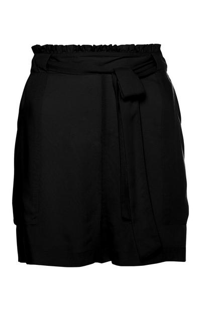 Black Belted Viscose Shorts