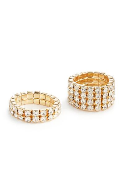 2-Pack Gold Rhinestone Stretch Rings
