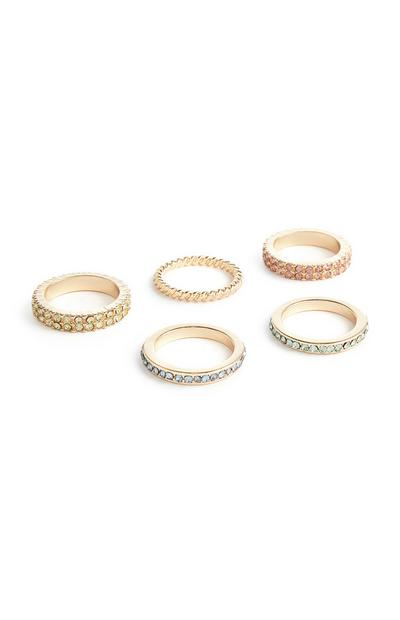 5-Pack Gold Gem Rings