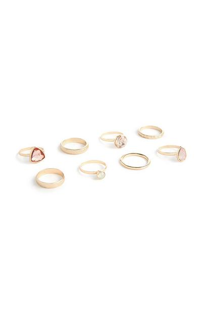 8-Pack Gold Gem Rings