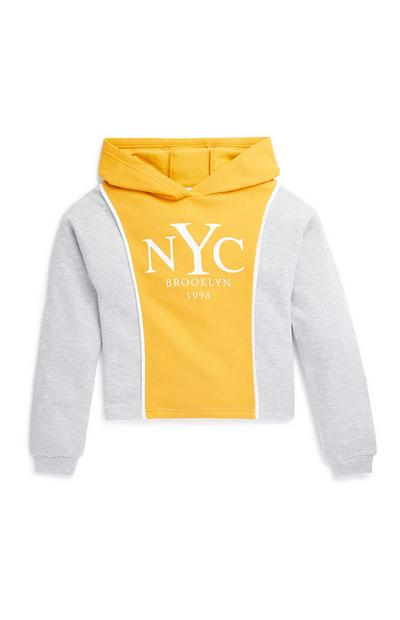 Older Girl Yellow and Grey Colour Block Hoodie