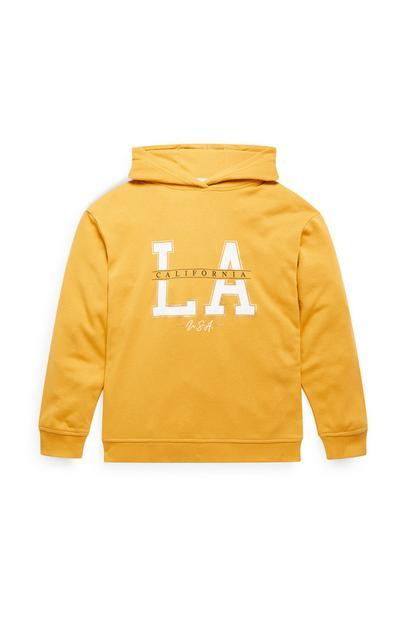 Older Girl Yellow LA Overhead Hoodie