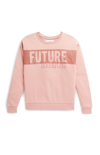 Camisola gola redonda slogan Future rapariga cor-de-rosa