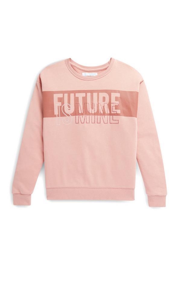 Older Girl Pink Future Slogan Crew Neck Sweater