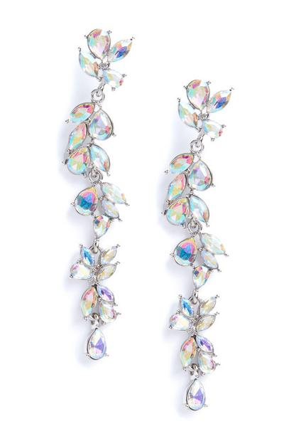 Silver Tear Drop Gem Long Earrings