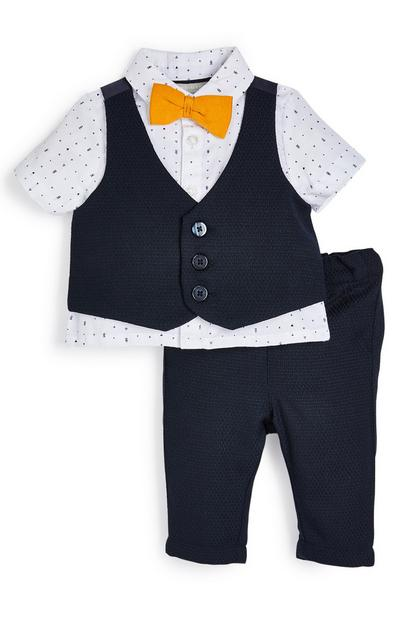 Baby Boy Navy And Yellow Formal Waistcoat Set
