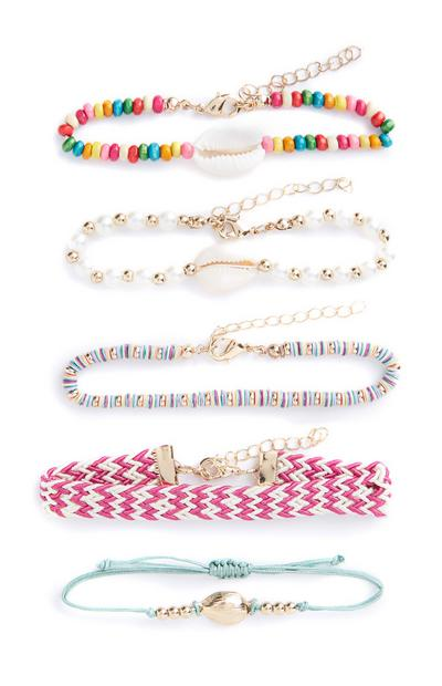 Mixed Pattern Bead Braclets 5Pk