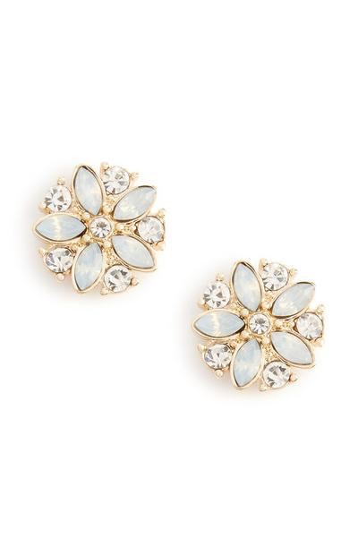 Clous d'oreilles bleus fleurs à strass