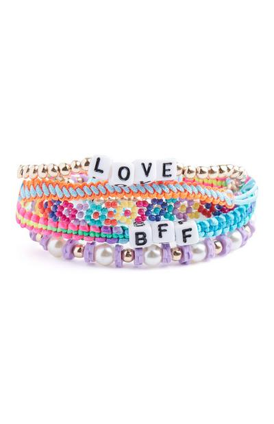 Lot de 5 bracelets colorés BFF