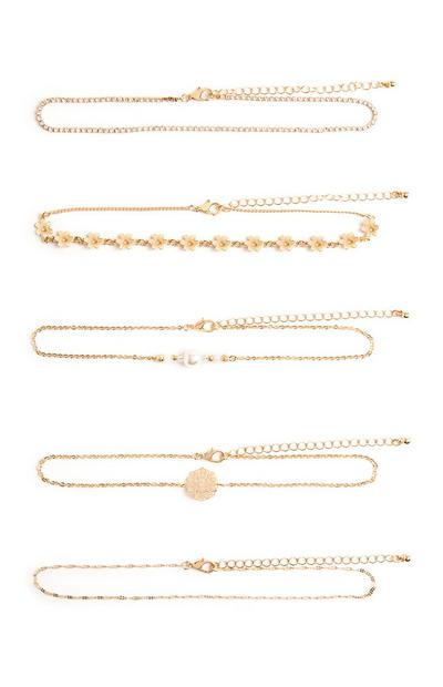 5-Pack Gold Delicate Flower Chokers