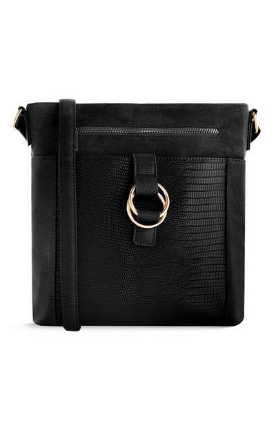 Zwarte boekentas met rits aan de voorkant