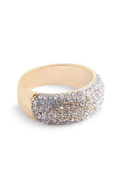 Gold Chunky Diamante Ring