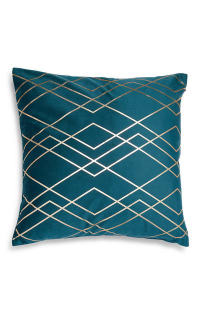 Teal Geometric Pattern Foil Cushion Cover