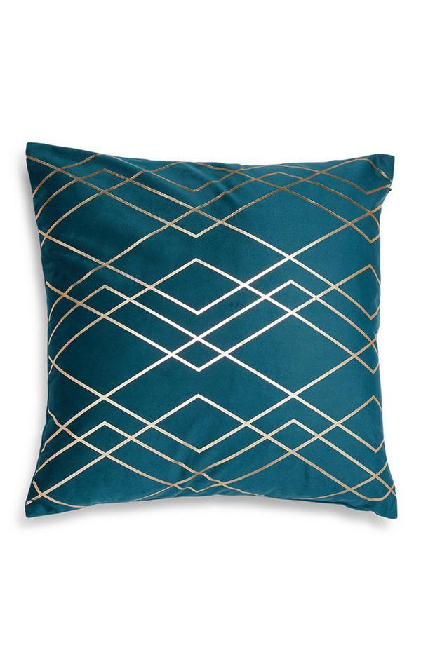 Housse de coussin bleu canard à motif géométrique métallisé