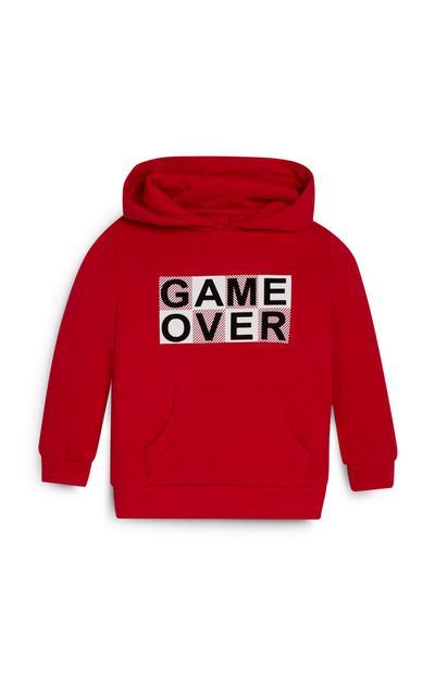 Felpa rossa con cappuccio Game Over da bambino
