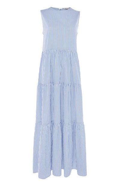 Blue and White Striped Poplin Tiered Maxi Dress