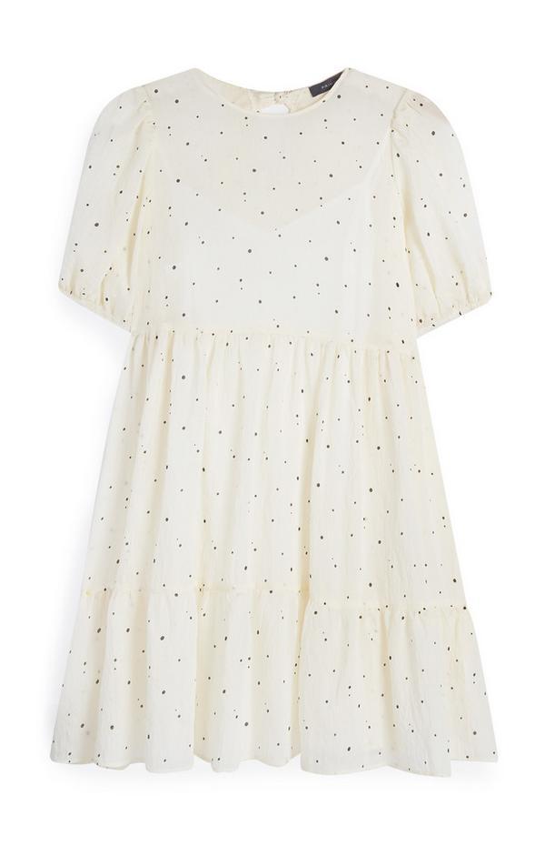 Organza mini-jurk met plooien