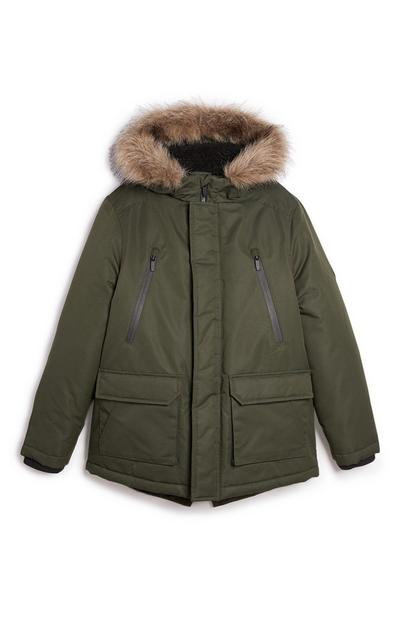 Older Boy Olive Parka