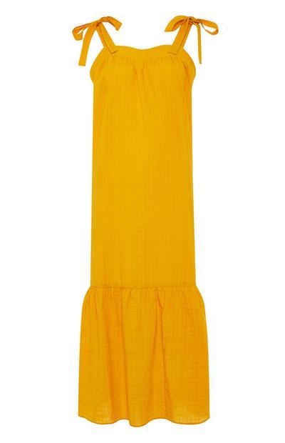 Mustard Square Neck Tiered Maxi Dress