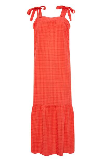 Coral Square Neck Tiered Maxi Dress