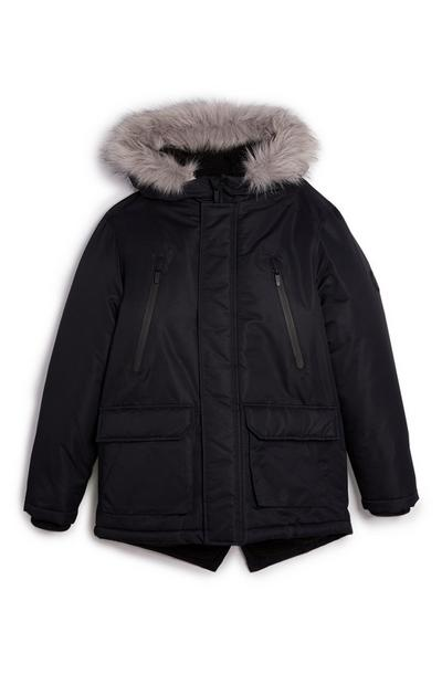 Older Boy Black Parka
