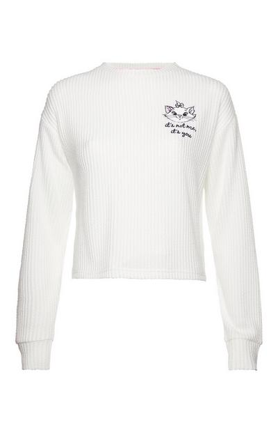 White Aristocats Marie Waffle Long Sleeve Top