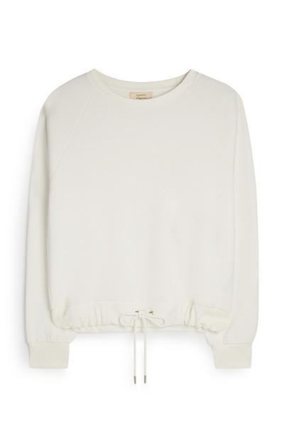 Bel pulover iz organskega bombaža z zatezno vrvico