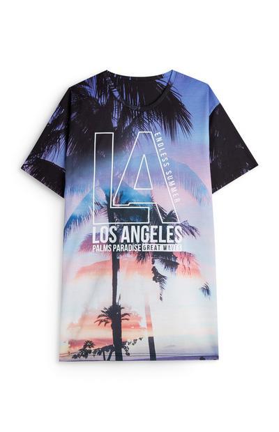 T-shirt con stampa foto palme LA