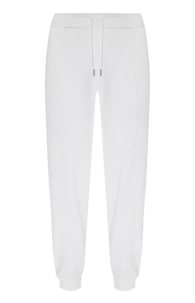 Organic Cotton White Cuffed Ankle Joggers