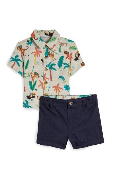 Fantovski komplet srajce in kratkih hlač z motivi iz džungle za dojenčke