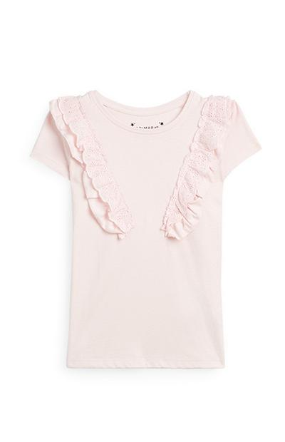 Younger Girl Pink Ruffle T-Shirt
