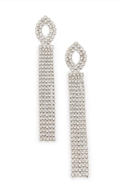 Silver Diamante Chain Drop Earrings