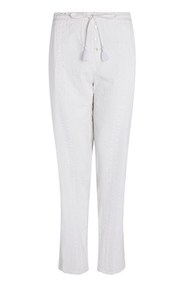 Pantalon blanc en crépon